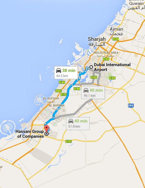 location map dubai on